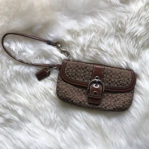 Coach Wristlet with Leather Strap and Detail